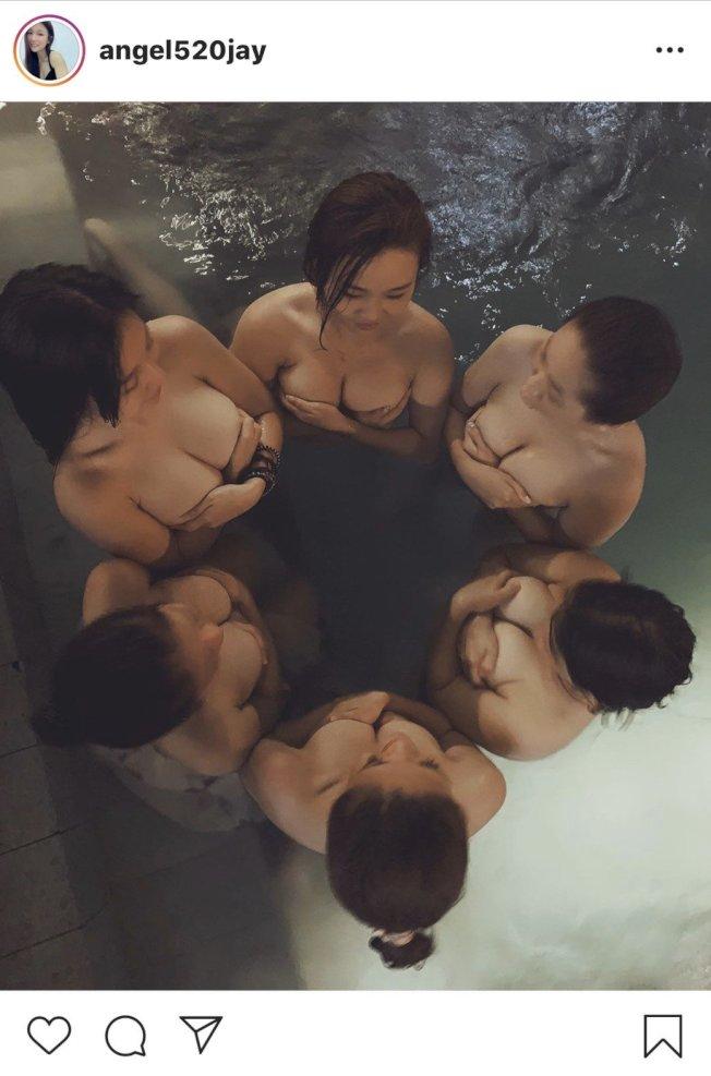 6名正妹全裸泡湯,畫面讓網友大噴鼻血。(取材自IG)