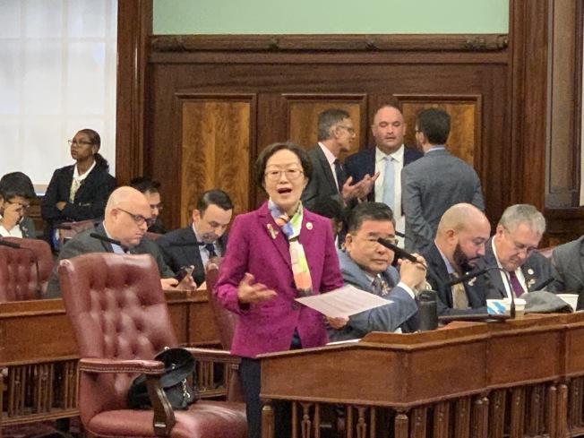 陳倩雯(發言者)表示,監獄建案的社區參與的確是不完美的過程,但她努力為社區爭取更多權益和資源,回應社區的擔憂。(記者和釗宇/攝影)