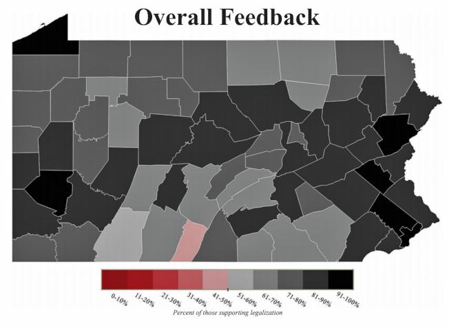 賓州各郡支持娛樂大麻合法化情形,顏色越深支持率越高。(取自州府報告)
