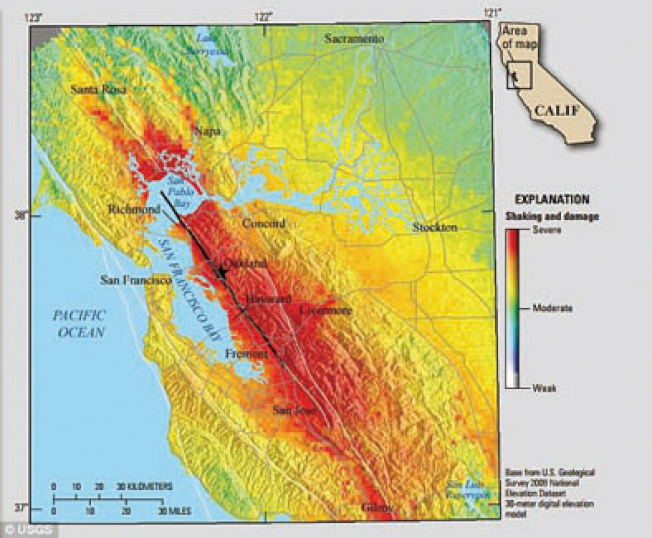 USGS的地質學家將海沃斷層(Hayward Fault)稱為「全美最危險的斷層」;這條沿東灣海邊的斷層,位於10個城市之下。(圖:柏克萊加大地震實驗室)