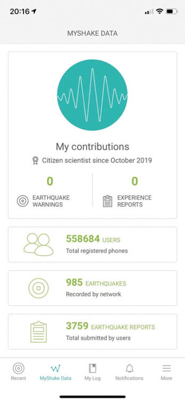 載由柏加大開發的手機移動程式MyShake,當附近一定距離地震,手機將收到警報。(記者劉先進/攝影)