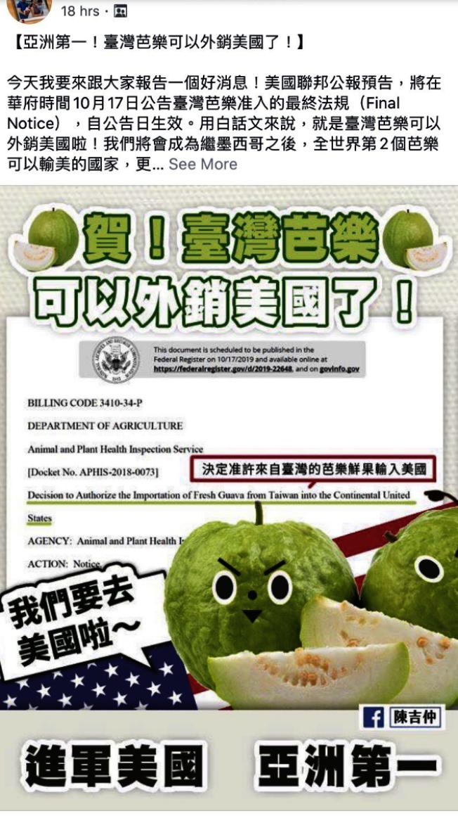 台灣芭樂獲准外銷的消息,在網路上獲得熱烈討論。(記者李榮/翻攝)