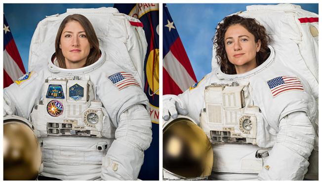 美國太空人克莉絲汀.考克(左)和潔西卡.梅爾合力完成太空漫步,這是首次全部由女性太空人完成太空漫步,締造歷史。(路透)