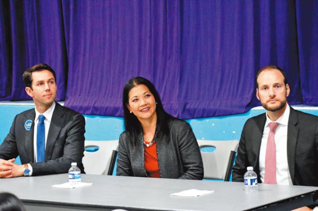 三名舊金山地檢長候選人李多福(圖左起)、湯曉慧、博徹思參加訪谷區辯論會,唯獨樂素詩缺席。(記者李秀蘭╱攝影)