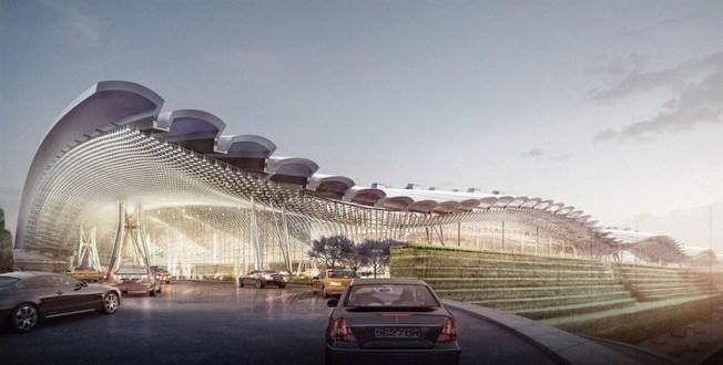 桃機公司昨提報桃園機場第三航廈修改設計報告,取消原先計畫中的波浪屋頂。(取材自桃機官網)