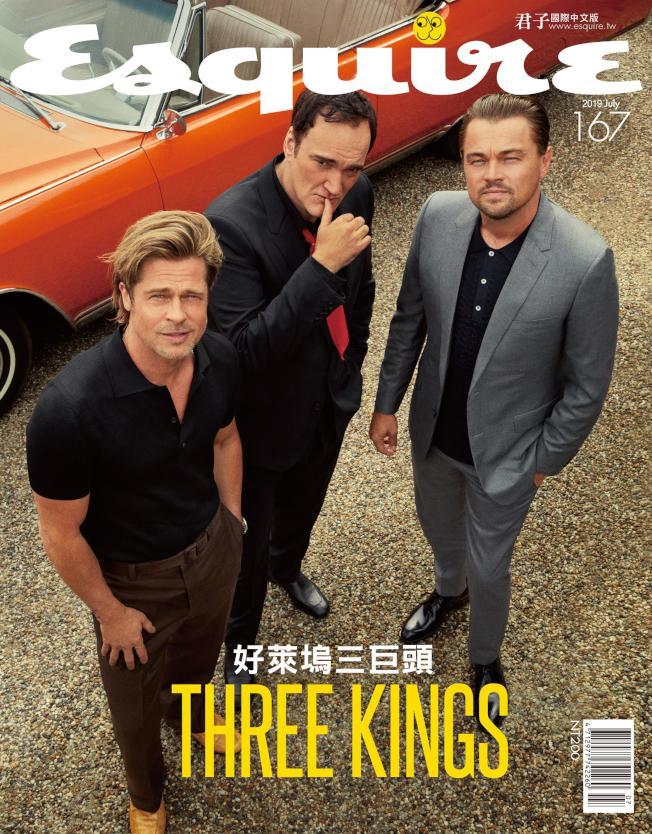 布萊德彼特(左起)、昆汀塔倫提諾、李奧納多狄卡皮歐合作《從前,有個好萊塢》。(圖:君子雜誌國際中文版提供)