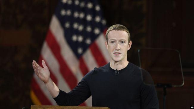 臉書首席執行官查克柏格10月17日在喬治城大學強烈抨擊中國互聯網的審查制度。(美聯社)