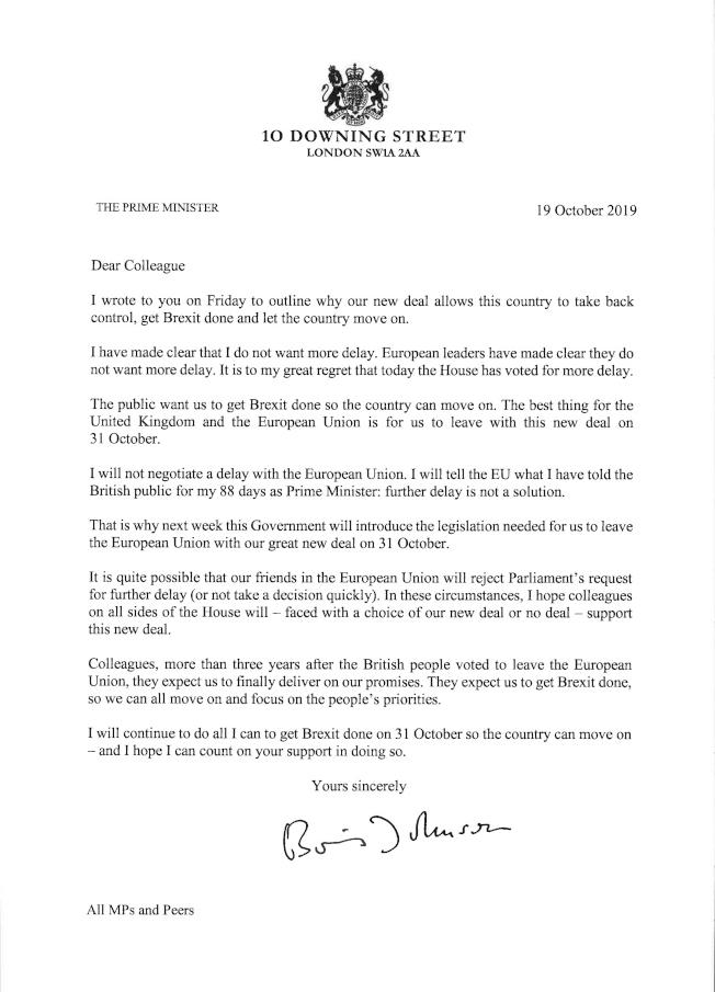 英國首相強生寫給英國議員的信中說,他認為拖延不是辦法,他將不會與歐盟協商延期。(美聯社)
