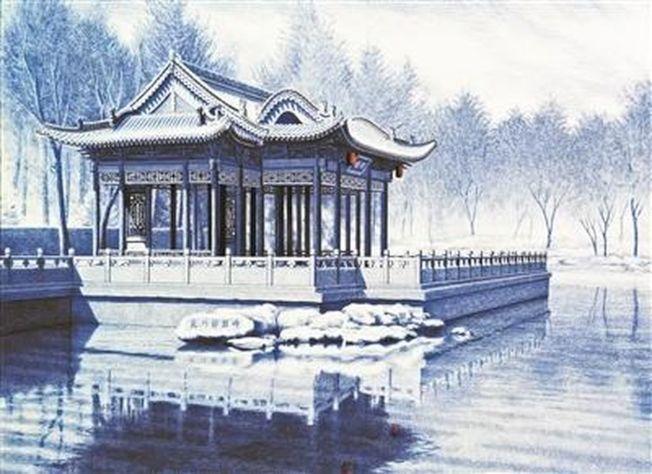 用圓珠筆畫的古建築。(北京青年報)