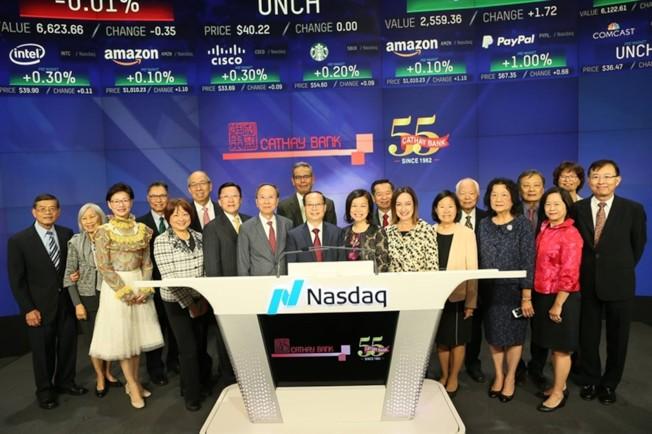 國泰銀行歡慶55周年,在紐約NASDAQ主持開市儀式。(國泰銀行)