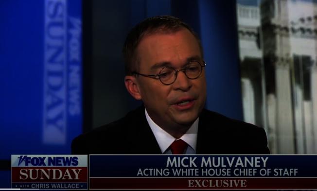白宮代理幕僚長穆瓦尼20日在福斯新聞節目上,再為川普總統辯護有關烏克蘭通話事件。但因上周他的辯護引發更多疑問,令川普不滿,傳出川普有意撤換他。(取自FoxNews視頻)