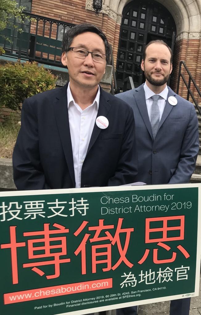 市議員馬兆明(左)也為地檢長候選人博徹思背書(右)。(本報檔案照片,記者李秀蘭攝影)