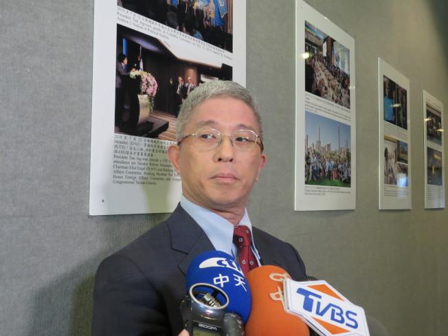台外交部次長徐斯儉訪美國華府,21日會晤美國國務院亞太助卿史達偉,徐斯儉會後在台駐美代表處受訪。華盛頓記者張加/攝影
