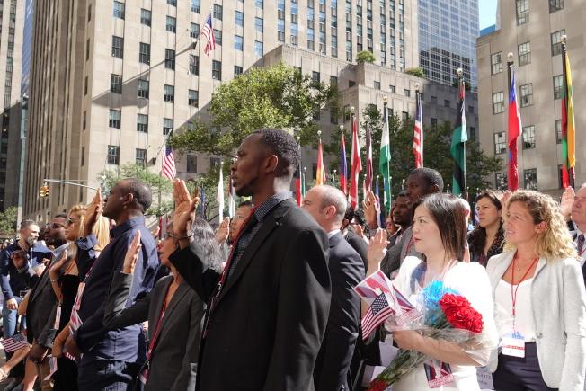 50名新公民9月在紐約市宣誓入籍。(本報檔案照/記者金春香攝影)