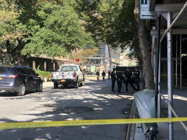 華策會老人公寓「康寧大廈」的延伸建築發生意外,造成一死一傷。(記者張晨/攝影)