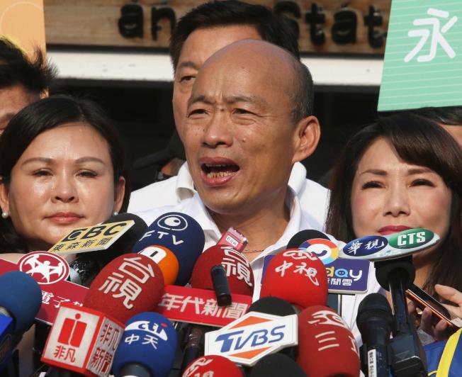 國民黨總統參選人、高雄市長韓國瑜向市府請假三個月拚選戰,但假期第一周的民調支持度不升反跌。(本報資料照片)