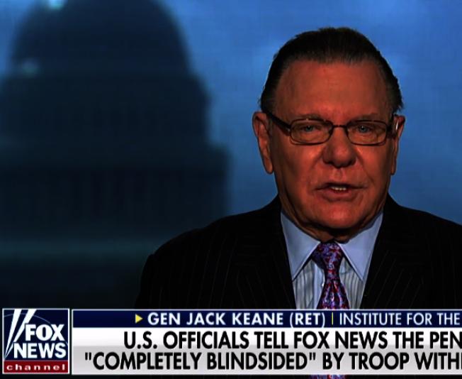 據報導愛看電視的川普總統聽從退休將領、福斯新聞的軍事評論員基恩的建議,保留部分美軍駐守伊拉克與敘北,以看守油管油田。(取自Foxnews視頻)