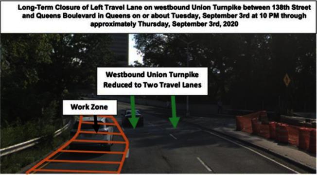 紐約州交通廳4日起,將縮減聯合大道138街至皇后大道的線道、進行施工長達一年。(州交通廳提供)