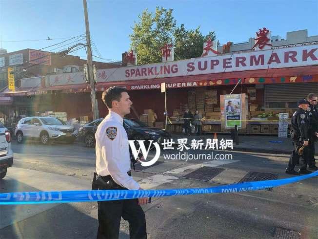(網絡版)109分局局長夏因趕往現場調查,警方在案發當日下午4時到5時期間,封鎖41路。(記者牟蘭/攝影)