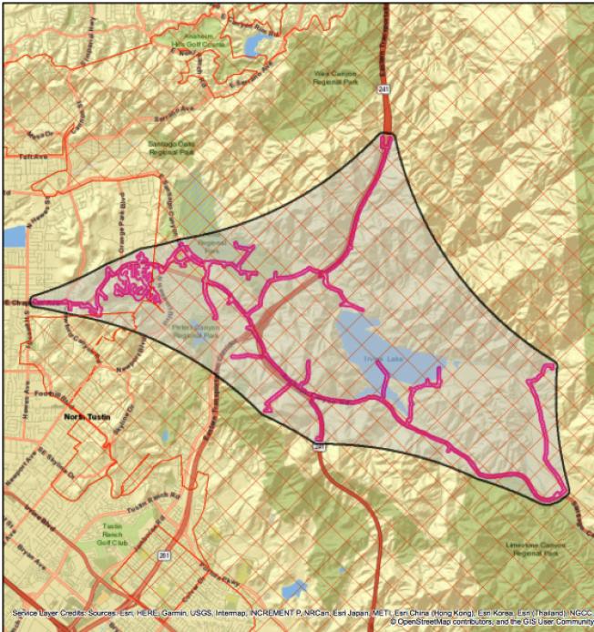 爾灣可能斷電受影響的區域。(愛迪生電力公司官網截圖)