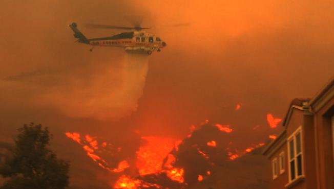 至少600名消防員和大批滅火直升機奮戰在火場。(李若提供)