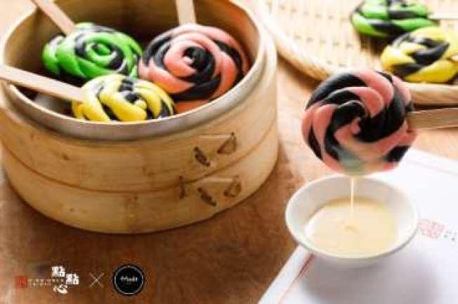 最近「4foodie」和港式點心店「點點心」的聯名合作中,雙方一同研發了好看好吃的食物,例如外表極似棒棒糖的「三色棒棒包」。(莊沐蓉提供)