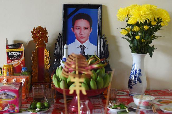 30歲的Le Van Ha家人已經為他立起靈堂。(美聯社)