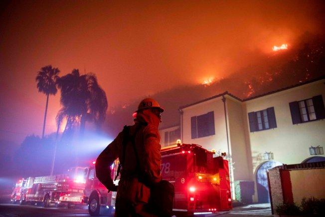 蓋蒂大火延燒逾600英畝。(美聯社)