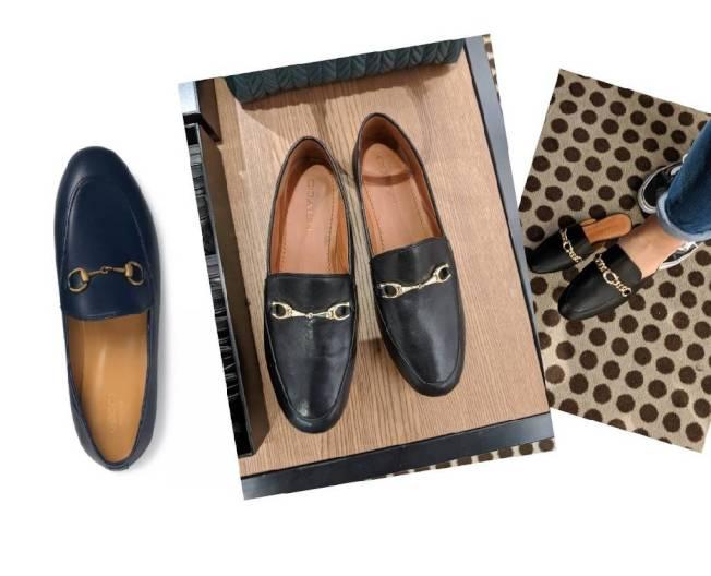 Gucci(左)和 COACH(中)的樂福鞋宛如雙胞胎。(記者 蕭永群/攝影)