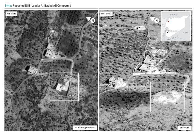 美國國防部發布的圖像顯示,巴格達迪住所在攻擊前已被鎖定(左圖),攻擊過後,住所被夷為平地(右圖)。(Getty Images)