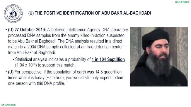 美國國防部公布,從巴格達迪殘骸上取下的DNA,與2004年他在伊拉克拘留中心提取的DNA相符。(美聯社)
