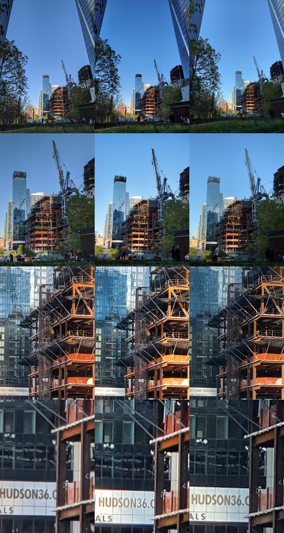 照片排序左至右為 Google Pixel 4 XL、Samsung Galaxy Note10+、iPhone 11 Pro。由上而下分別為 1x、2x、8x、局部裁切。