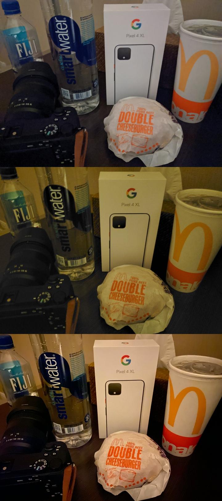 照片排序上至下為 Google Pixel 4 XL、Samsung Galaxy Note10+、iPhone 11 Pro。