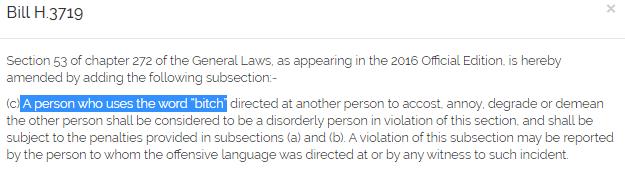 法案稱,任何人對他人使用「bitch」一詞來侮辱、詆毀或貶低,將被視為破壞秩序,最高可罰200元。圖/截取自MassGOP推特