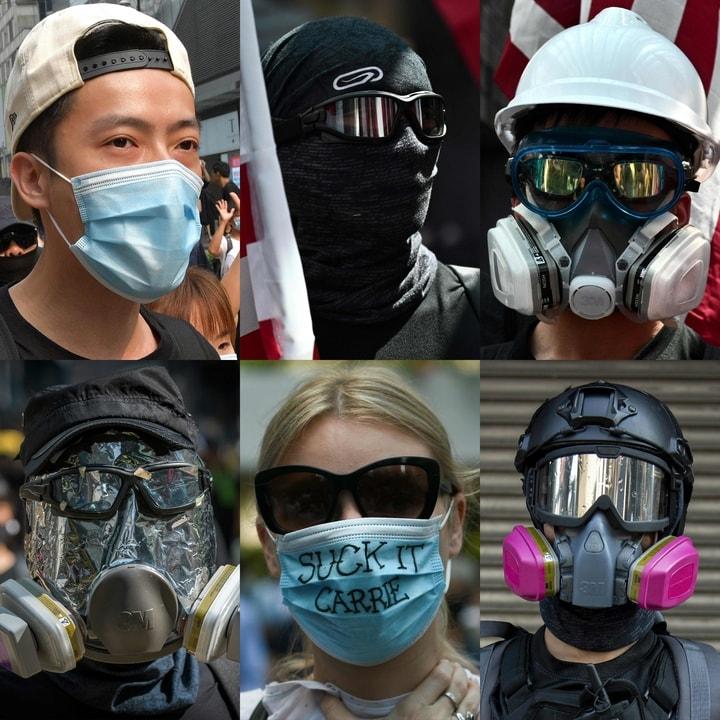 在香港,示威者選擇了不同的蒙面工具。(Getty Images)