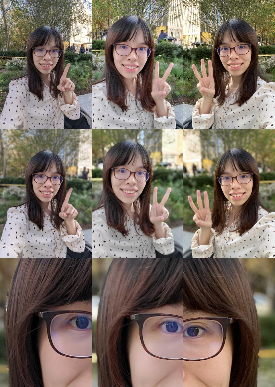 照片排序左至右為 Google Pixel 4 XL、Samsung Galaxy Note10+、iPhone 11 Pro。由上而下分別為一般模式、肖像/景深模式、肖像/景深模式局部裁切。