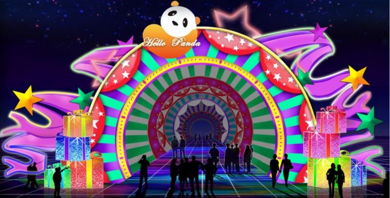 圖2:「熊貓萬花筒隧道」共長達三十米,入口頂部有熊貓浮雕造型,內部有引導遊客走向深處的燈光效果,夢幻感十足。