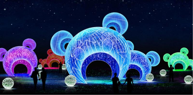 圖4:「彩色熊貓拱門」具有燈光效果,中間可供遊客停留和休息。