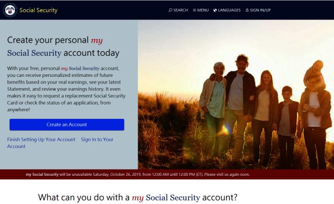 民眾可在社安局網站設立「我的社安金」(my Social Security)帳號。(取自官網)