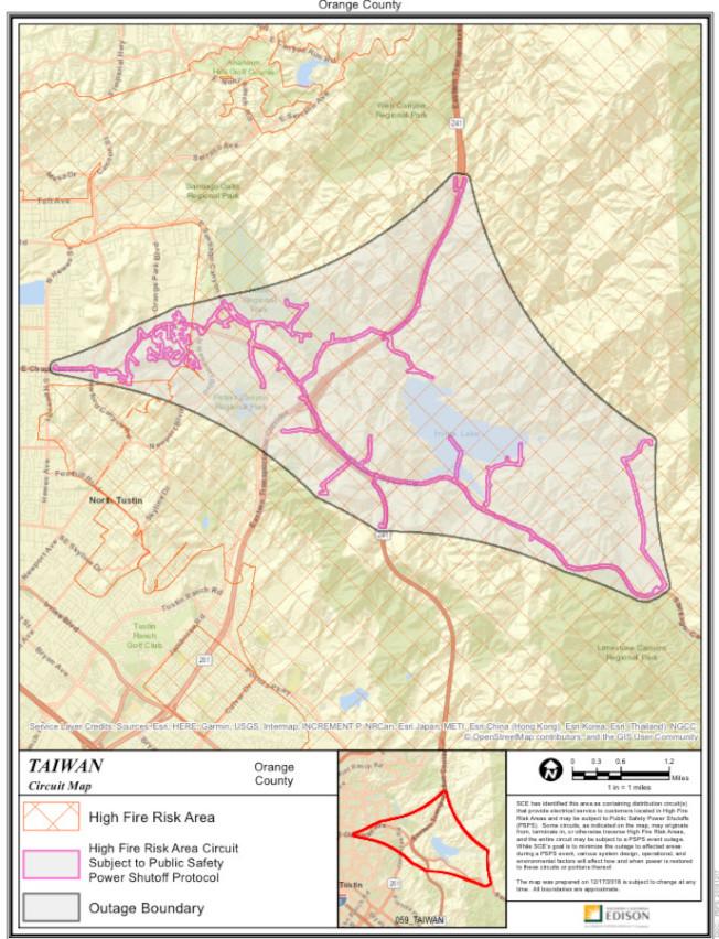 防止山火爾灣市可能的安全斷電區域分布。(愛迪生公司資料圖)