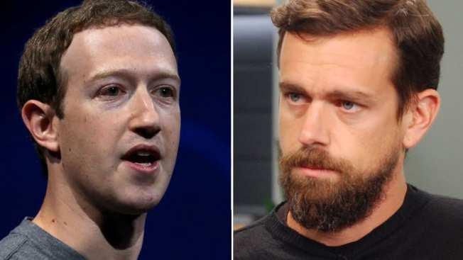 臉書的查克柏格(左)和推特的多西(右)。 (Getty Images)