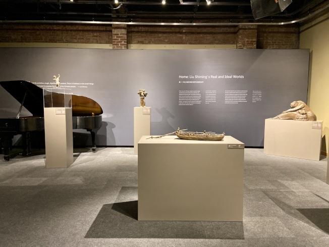 劉士銘雕塑藝術展展廳。(記者鄭怡嫣 / 攝影)
