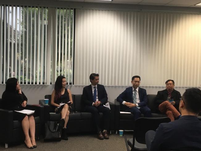 亞太公共事務聯盟、東洛磯學院基金會2日上午聯合舉辦政府青年領導講座。(記者謝雨珊/攝影)