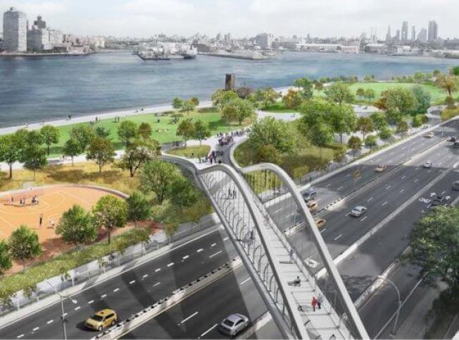 市府計畫將東河公園地基提高8至10呎以達到防洪效果,但遭下東城居民反對。(取自市城市規畫局網站)