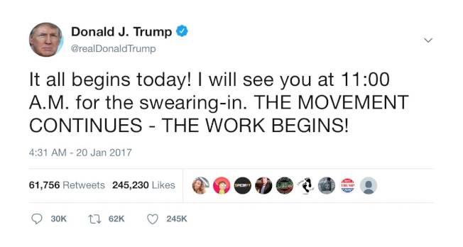 2017年1月20日,川普總統早上11時宣誓上任,但他在凌晨4時31分即發布推文。(取自推特)