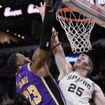NBA/詹姆斯連兩場大三元 湖人拔馬刺奪5連勝