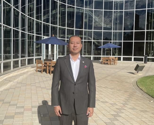 加州眾議院第68區眾議員華裔候選人于淼(Ben Yu)。(記者尚穎/攝影)