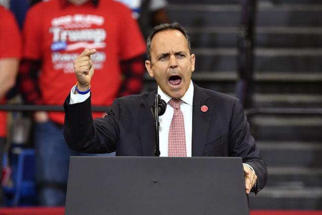 肯塔基州5日舉行州長選舉,競選連任的肯州共和黨籍州長貝文支持度低落。(美聯社)
