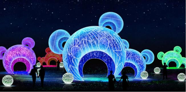 熊貓題材燈組的「彩色熊貓拱門」具燈光效果,並提供空間供遊客停留和休息。(中演北美公司提供)