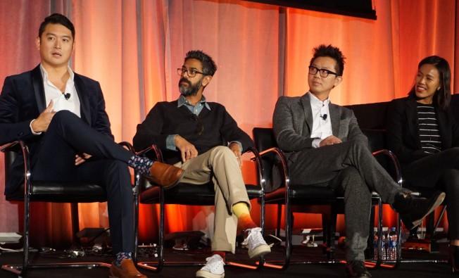 迪士尼公司電子遊樂發行部門華裔主管Mark Zee(左起)、UTA經紀人Max Michael、製片人Hieu Ho、製片人Janice Chua出席亞美娛樂高峰論壇。(記者馬雲/攝影)